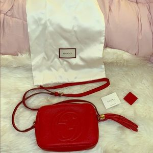 Authentic Red Gucci Soho Disco Bag-Like New